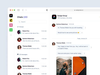 Chat and Messaging Template - Webpixels web app application team management crm users members inbox mail conversation discussion messages chat bootstrap components dashboard template ui