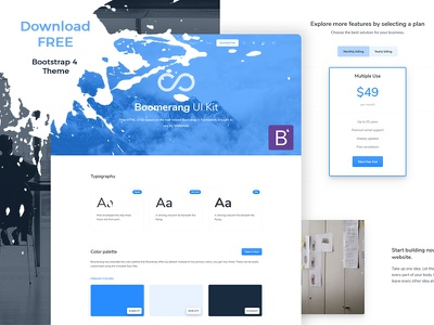 Boomerang UI Kit Free - Bootstrap 4 Theme freebie free boomerang interface ui-components uikit template website theme bootstrap