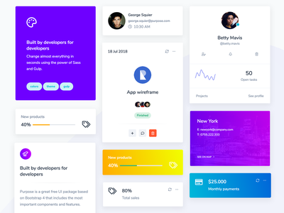 Purpose Website UI - Cards theme interface template creative agency purple connection member team contact profile charts stats mobile application webapp dashboad cards design cards ui cards