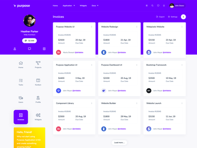 Invoices page from Purpose Application UI Kit