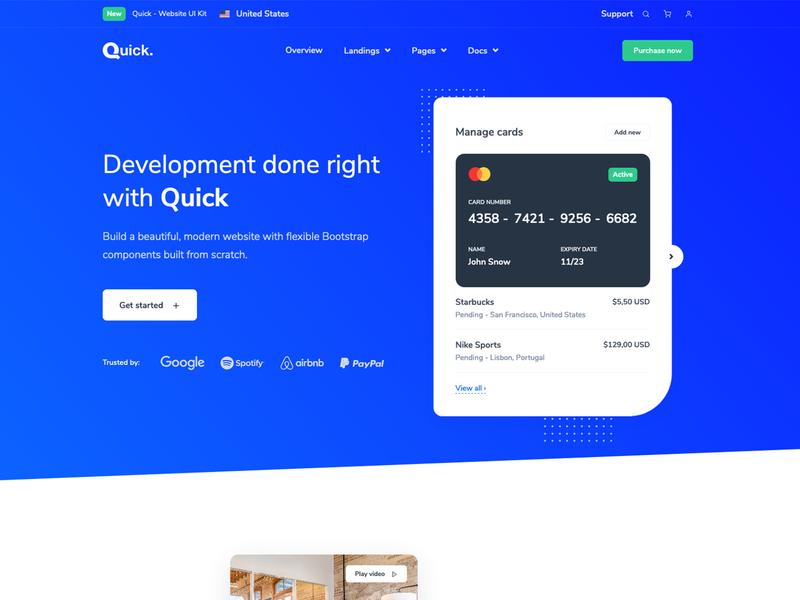 Quick Website Landing Pages startup agency business interface website builder modern landingpage landing website
