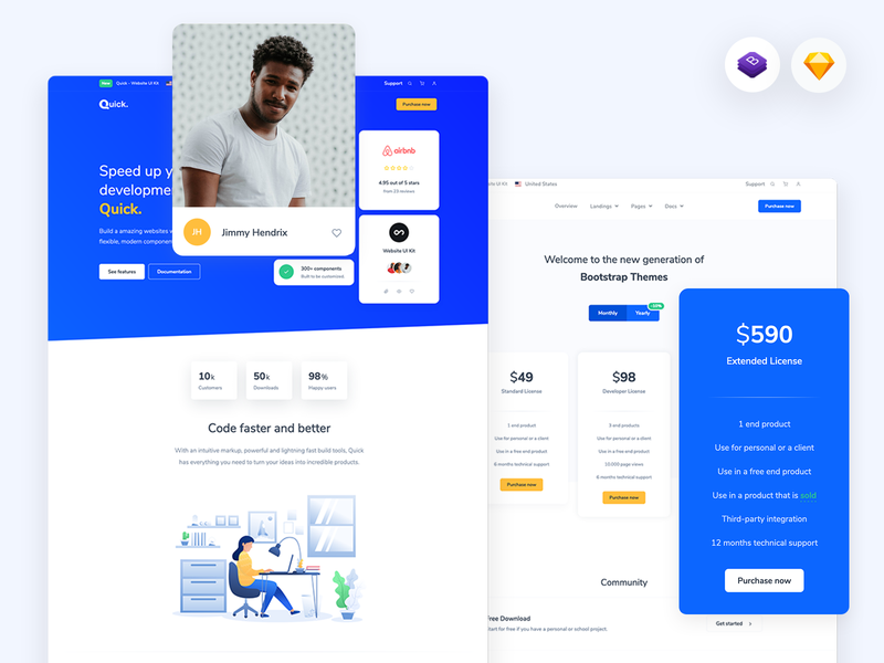 Quick - Website UI Kit for Bootstrap and Sketch sketch bootstrap pricing landing business agency startup theme uikit