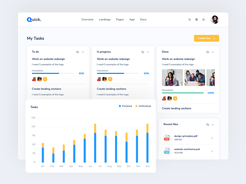 Quick - Bootstrap Dashboard for Projects ux dashboard ui admin panel analitycs chart project management admin dashboard