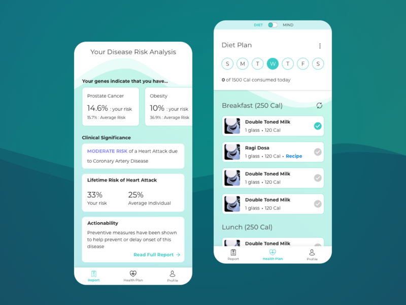 genoME - Dietary and disease risk analysis meditation app mindful fitness app health app healthcare dribble materialdesign design ux appdesign cardui uxdesign userinterface ui