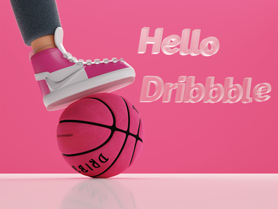 Hello Dribbble typography icon branding design illustration logo graphic design 3d
