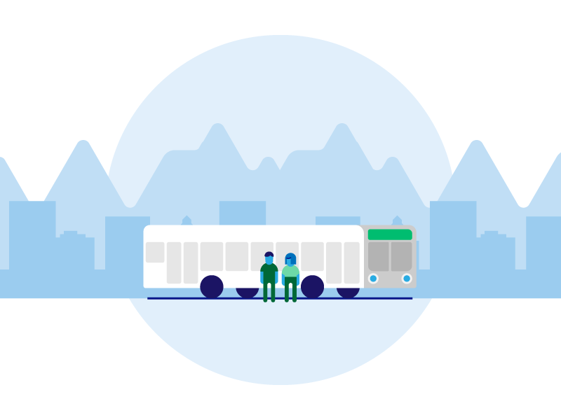 End of the trip public transportation people bus stop vector chile illustration