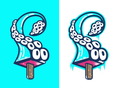 Frozen Squid Logo tentacle frozen ice lolly lolly vector illustration squid logo