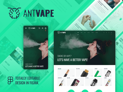 AntVape – Vape Shop UI Template vape world responsive vector ui logo design