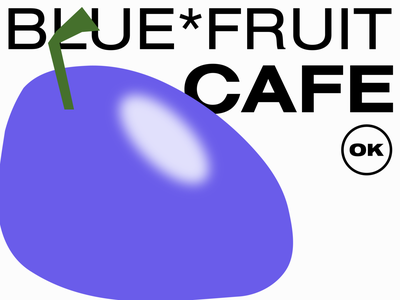 blue fruit cafe minimal fruit brand coco illustration branding cute typography vector type flat abstract design 2d blue