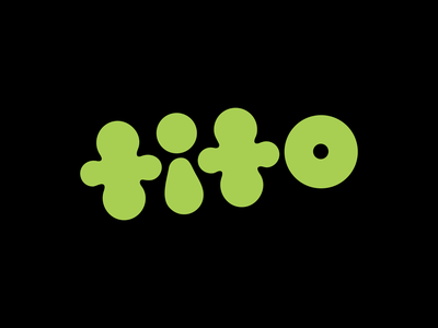 tito bubble identity wordmark letter type design green color print character lettering coco branding typography cute type vector flat abstract design 2d