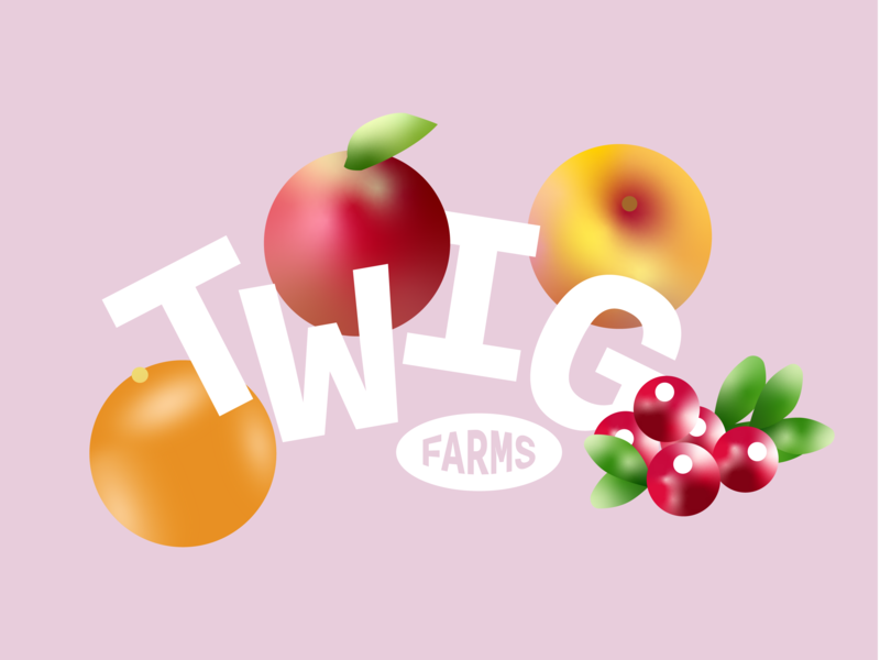 twig farms print design cranberries orange peach apple pink farms twig cody coco green cover cute illustration vector typography branding type design 2d