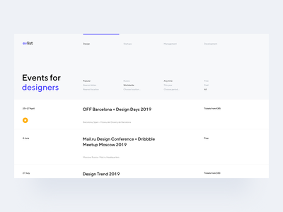 Event List Concept date calendar startup simple typography web tickets event list