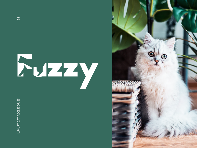 Fuzzy colors clean typography minimal cat modern animation logo design branding