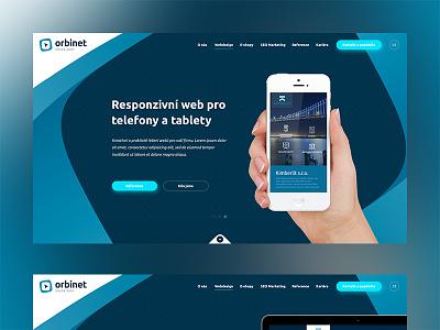Orbinet hand blue dsktop mobile web design