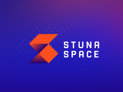 Stuna space orange blue colorful modern space vector logo illustration