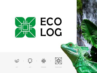 ECOlog - logo brand identity brand design branding brand leaves green golden ratio help ecology nature logotype logo design logo