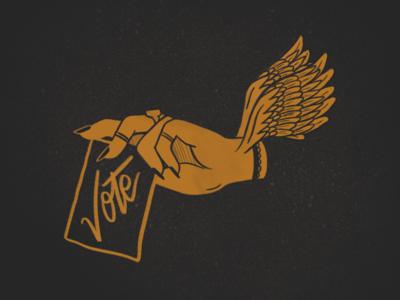 Flying Vote hand lettering vintage flying wings hand procreate vote illustration design lettering