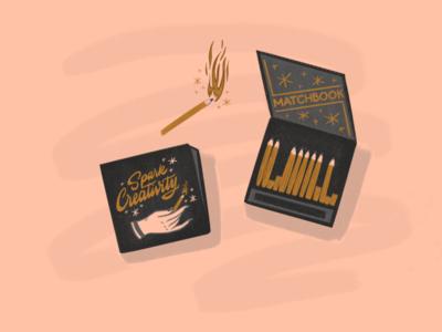 Creative Spark procreate app create spark creativity matchbook matches procreate hand lettering illustration design typography type lettering