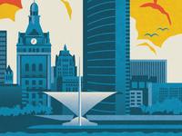 Visit Milwaukee Skyline Illustration