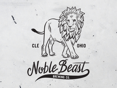 Hops Lion for Noble Beast Brewing Co. design logo typography type lettering branding cleveland brewery beer hops lion illustration