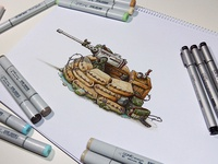 Machine Gun nest, a Copic markers original sketch