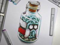 Pokemon Tangela catched in a vintage Pokeball : a Pokebottle