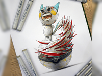 Pokemon Pachirisu is escaping a pokeball with a dragon punch