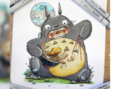 Totoro find Nemo in his udon japan udon nemo totoro markers copic