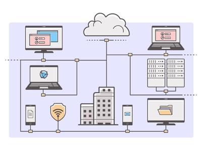 Network illustration web enterprise connectivity network