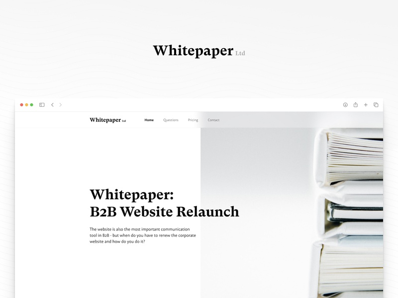 Whitepaper - B2B Digital Book (Landing Page) page landing digital book whitepaper paper website b2b concept business product design ux ui