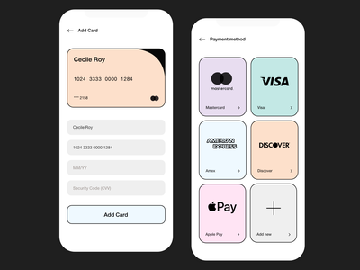 Payment mobile app minimal bank financial payments cards simple ux ui