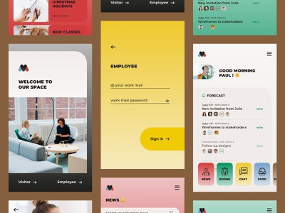 Company App chat news rooms food log colors employee company typography vector brand ux ui