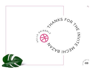 Hello Dribbble ! typography illustration design argentina invite invitation hello debut first shot clean simple