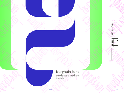 > Working in a new typeface _Berghain  free font free modular display medium condensed g typography neon font type