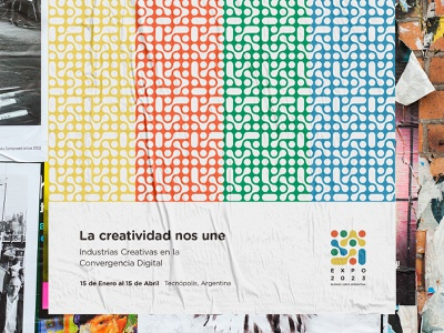 Expo 2023 free typography simple texture technology print web identity branding modular poster festival expo culture