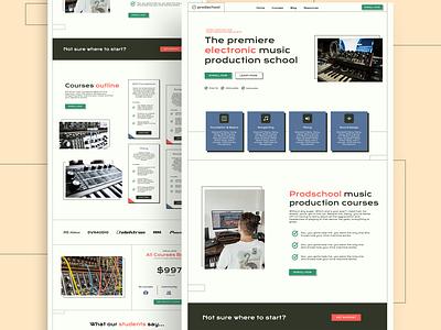 Music production school - website web design landing page ui design