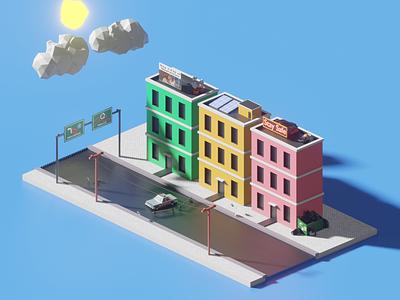 Isolated town render town building cartoon blender corona outbreak 3d isometric design isometric art isometric illustration design