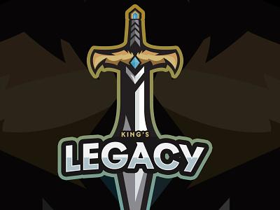 King's Legacy Sword Mascot Logo logodesign logo design gaming mascot e-sport illustration design logo
