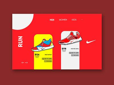 Nike Run UI Design app flat website illustration design lineart ux web icon vector sketch shoes nike ui