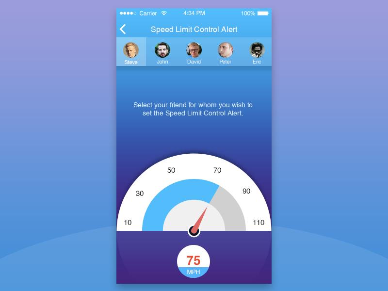 Mobile App Screen UI simple ux. clean ui userinterface mobile app meter alert speed iphone ios android app