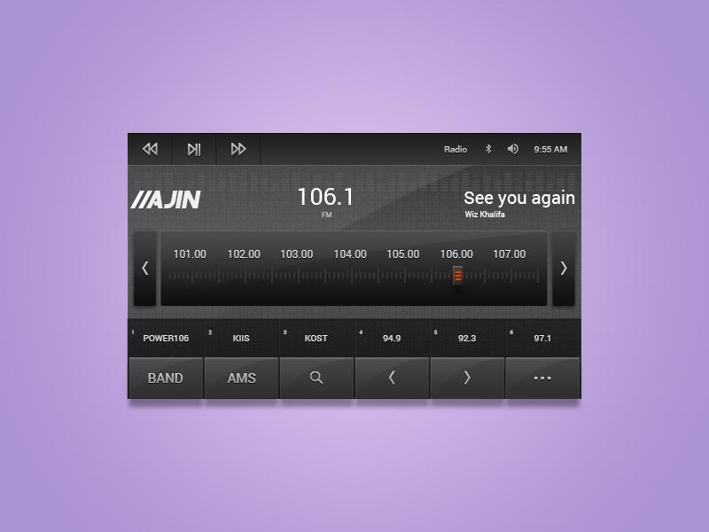 Music Application UI frequency car ux radio iphone ios application app ui music