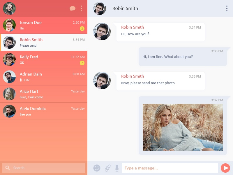 Chat UI Design clean app web call users profile dashboard messages ux ui dialogue chat