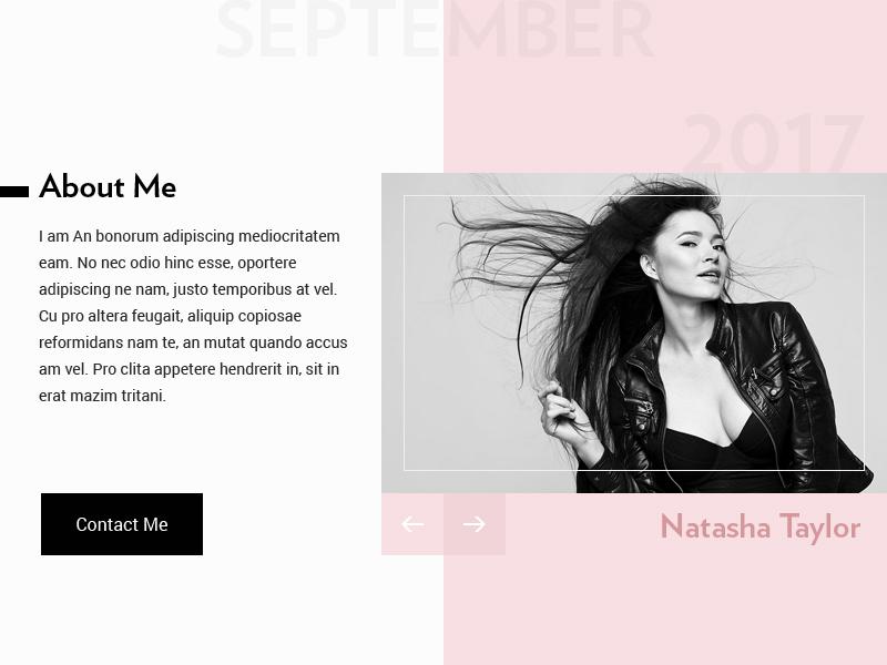 Profile UI gallery photo slider about me identity contact profile user modal model fashion ui