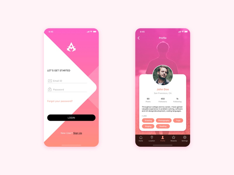 Login and Profile Screen design profile signup signin register log in welcome sign in screen login simple flat mobile icon iphone clean ios app ux ui