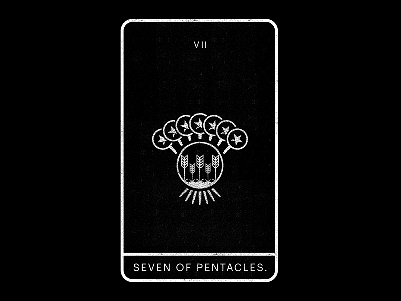 Seven of Pentacles. harvest crops seven pentacles tarot minimal white black