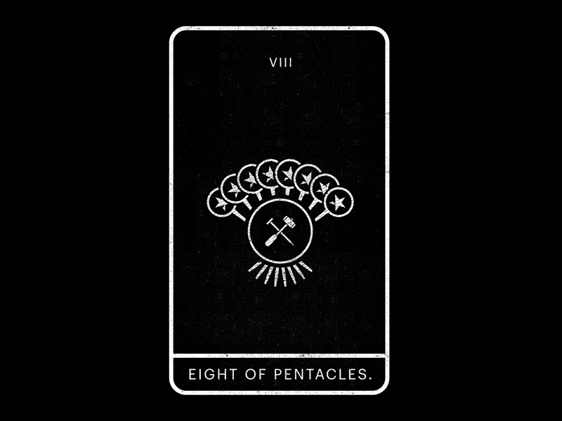 Eight of Pentacles. working nail mallet hammer eight pentacles tarot minimal white black