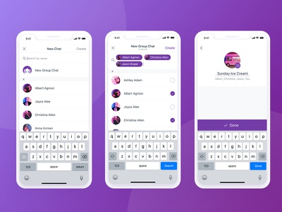 Create new chat flow - ios mobile app messager conversation group chat ios app ios chat chat app iphone app iphone x app mobile mobile app