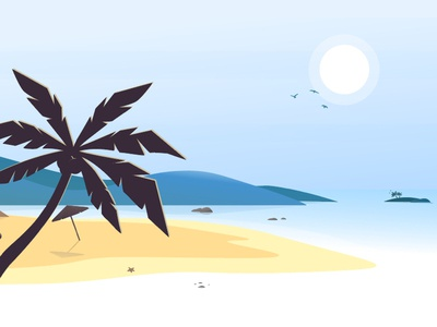 Summer Sale Illustration design blue vector illustration water parasol shopware ocean sun palm beach summer summer sale