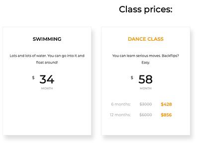 Class prices