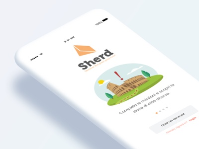 Sherd Welcome Screen archeology orange white illustration character game app ios clean minimal